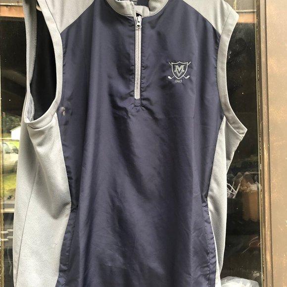 Adidas Mens Dark Blue Gray short vest Jacket